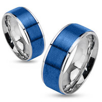 Stratosphere - Brushed blue IP and silver stainless steel his and her ring with step edges