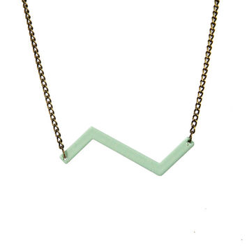 I liked this design on #Fab. Zig Zag Necklace Green