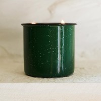 Evergreen Candle in Enamel Holder