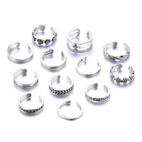 ac PEAPO2Q 12Pcs/Set Retro Hollow Flower Adjustable Open Toe Rings Finger Foot Jewelry