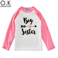 Big Sister Girls T Shirts 2017 Spring Arrow Heart Baby Girl Clothes Toddler Long Sleeve T-shirts For Kids Boy Clothing Costume