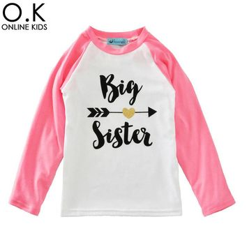 Big Sister Girls T Shirts 2017 Spring Arrow Heart Baby Girl Clot 800e8603d