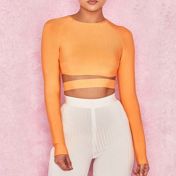 Clothing : Tops : 'Talika' Neon Orange Bandage Crop Top with Waistband