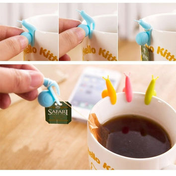 Randome Color!! 5 PCS Cute Snail Shape Silicone Tea Bag Holder Cup Mug Candy Colors Gift Set GOOD = 1958672004