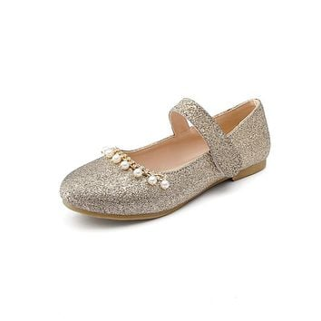 Rhinestone Pearls Sequined Mary Janes Women Flats Shoes Big Size 4206
