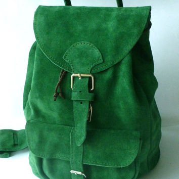 Natural suede leather backpack medium