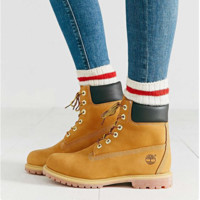 Timberland Rhubarb boots for men and women shoes waterproof Martin boots lovers Yellow H Z
