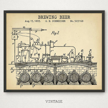 Beer Brewing Patent Art, Beer Poster Print, Vintage Gallery Wall, Brewery Wall Art, Beer Barrel Keg Alcohol Liquor, Bar Decor, Pub Poster