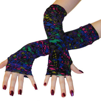 Psychedelic Muse - Arm warmers with multicolored fabric gypsy bohemian cyber goth raver burning man hippy fingerless gloves long sleeves