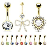 BodyJ4You Belly Button Rings 12PC Navel Ring Dangle Goldtone Set Gift Box