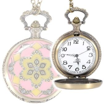 2017 Vintage Pink Flower Crystal Retro Quartz Pocket Watch Necklace Pendant Chain Women Watches Gifts LL@17
