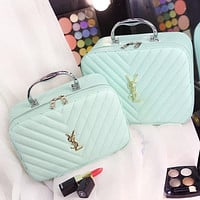 YSL Yves Saint Laurent Portable Cosmetic Bag Storage Bag Washing Bag F0717-1 Light green