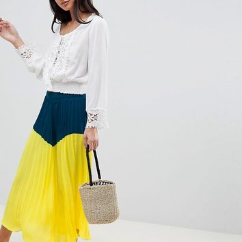 Boohoo Color Block Pleated Midi Skirt at asos.com