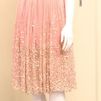 Soft pink and gold Hand Embroidered ballerina gatsby sequinned chiffon halter dress