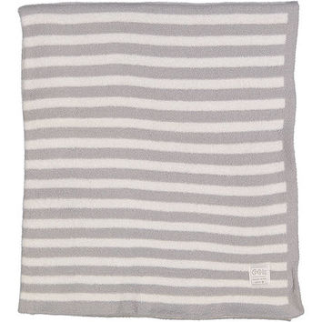 Gray Stripe Feathered Blanket