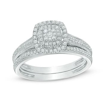1/3 CT. T.W. Composite Diamond Double Square Halo Vintage-Style Bridal Engagement Ring Set 14K White Gold