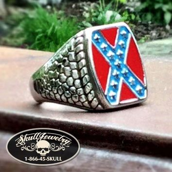 'Heritage Not Hate' Steel Rebel Flag Ring (388)
