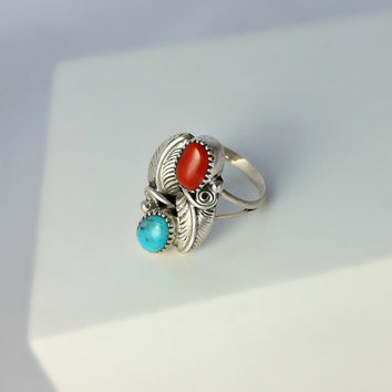 Turquoise and Red Coral Native American Ring Size 5 - Sterling Southwestern Ring - Size 5 Ring