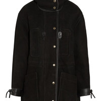 Coach - Leather-trimmed shearling parka