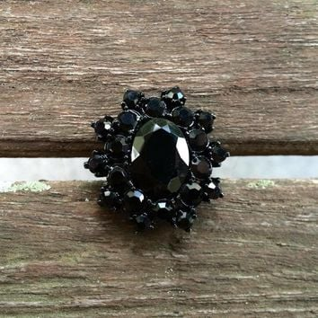 Black Flower Rhinestone Ring, Size 9