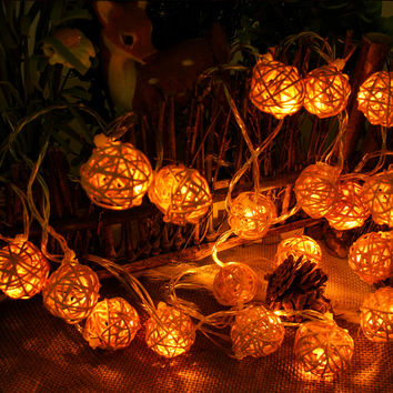 5M 20 LED Warm White Rattan Ball LED String Lighting Holiday Christmas Wedding Party Curtain Decoration fairy christmas Lights