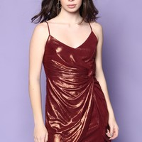 Knot Today Iridescent Mini Dress - WIne