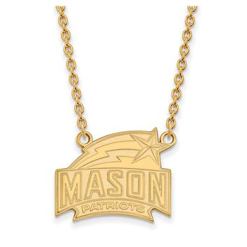 NCAA 14k Gold Plated Silver George Mason U Large Pendant Necklace