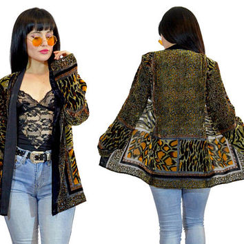 vintage 90s velvet burnout duster jacket sheer animal print soft grunge goth 1990s safari slouchy small medium
