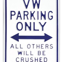 VW Parking Only Sign - Large Blue