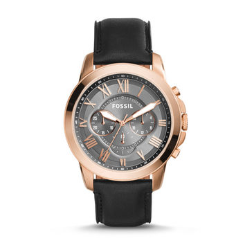 Grant Chronograph Black Leather Watch - $135.00