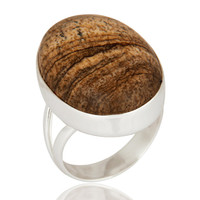Artisan Handcrafted Solid 925 Sterling Silver Ring With Natural Picture Jasper