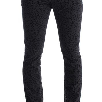 Gray Blue Leopard Slim Fit Pants Jeans