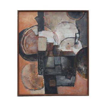 Pre-owned 70's Abstract Cubist Painting