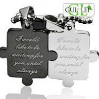 Jigsaw Puzzle Titanium Couple Necklace