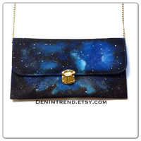 Galaxy Clutch Bag - Handpainted