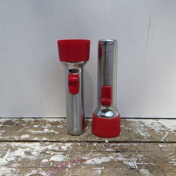 Ray Vac Aluminum Flashlight Vintage Camping Gear Red and Silver