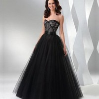 Ball Gown Floor Length Sweetheart Prom Dress With Sequins Black 1314