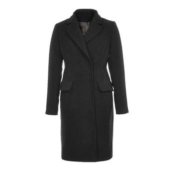 Fashion Notched Collar Long Sleeve Women Solid Winter Coat