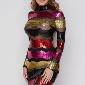 Holiday party sequin dress