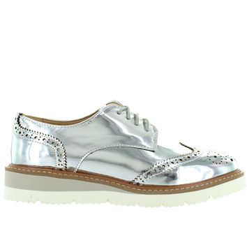 Wanted Downey - Silver Perforated Wing-Tip Platform/Wedge Oxford
