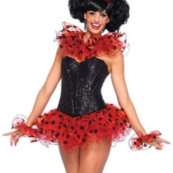 ESBI7E 3PC.Clown Kit,ruffle neck piece, arm cuffs,and hat in RED/BLACK