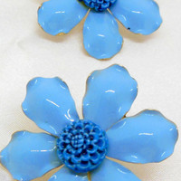 Vintage Metal Flower Earrings Blue and Gold Clip on