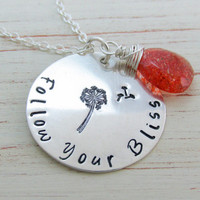 Follow Your Bliss Sterling Necklace with Oregon Sunstone and Dandelion Accents, Blowing Dandelion, Encouraging and Uplifting Jewelry, Orange