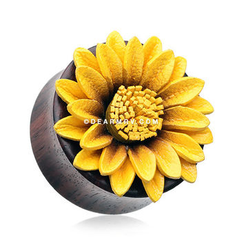 A Pair of Sunflower Blossom Sono Wood Ear Gauge Plug
