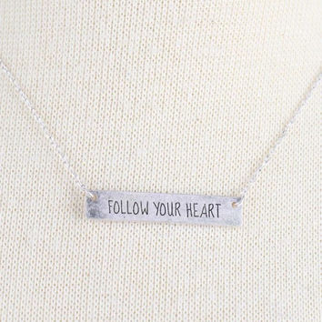 Follow Your Heart Bar Necklace In Silver