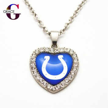 1pcs Fashion Indianapolis Colts Football Sports Charms Heart Crystal Necklace Pendant With 50cm Chains For Women Men Diy Jewelry