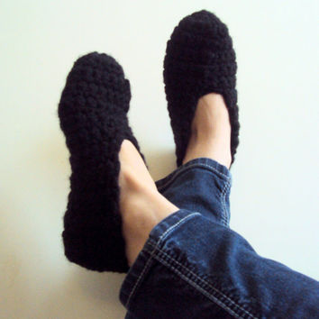 Crochet Slippers Extra Thick Indoor Slippers Slipper Socks House Shoes  Black Moccasins Women Men Tenn to Adult Valentine's Day Gift