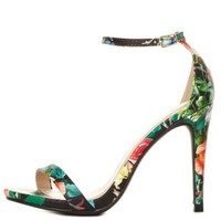 Floral Single Sole Ankle Strap Heels by Charlotte Russe