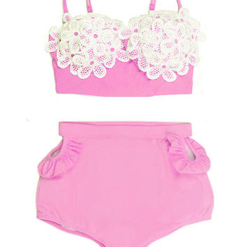 Pink Lace Daisy Sakura set Flora Top and High Waisted Waist High-waist Shorts Bottom Swimsuit Swimwear Bikini set Bathing suit Swimdress S M