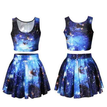 Blue Galaxy Crop Top & Skirt Set (Pastel Goth, Alternative, Kawaii)